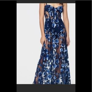 For Love & Lemons Victoria Embroidered Navy Maxi
